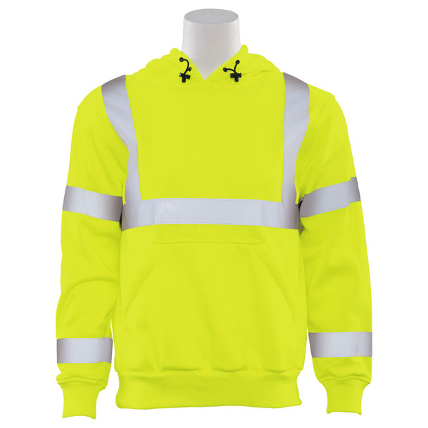 ERB Class 3 Hi Vis Lime Pullover Hooded Sweatshirt W376-L Front