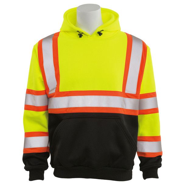 ERB Class 3 Hi Vis Lime Two-Tone Black Bottom Pullover Hooded Sweatshirt W376BC Front