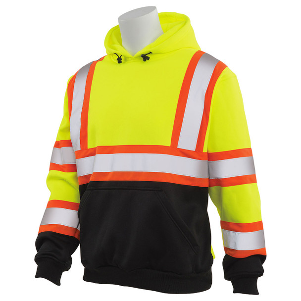 ERB Class 3 Hi Vis Lime Two-Tone Black Bottom Pullover Hooded Sweatshirt W376BC Left Side Profile