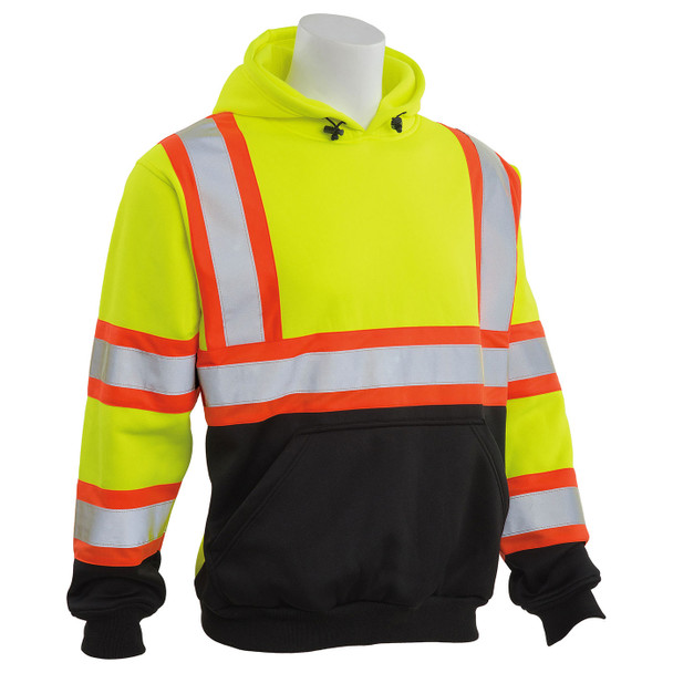 ERB Class 3 Hi Vis Lime Two-Tone Black Bottom Pullover Hooded Sweatshirt W376BC Right Side Profile