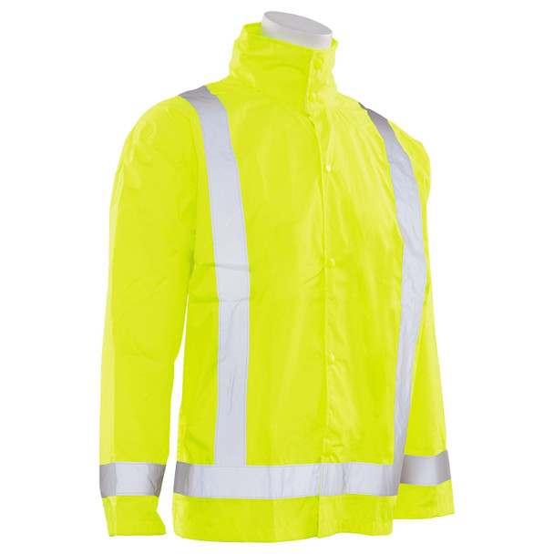 ERB Class 3 Hi Vis Lime Rain Jacket with Detachable Hood S373D-L Right Side Profile