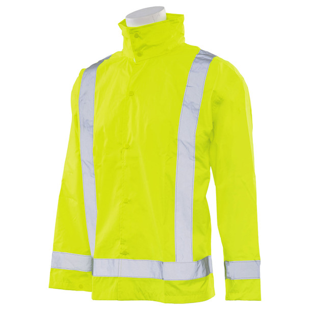 ERB Class 3 Hi Vis Lime Rain Jacket with Detachable Hood S373D-L Left Side Profile