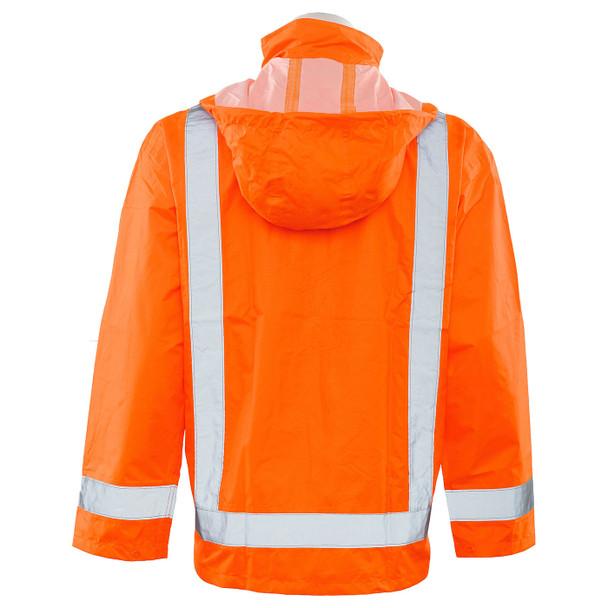 ERB Class 3 Hi Vis Orange Rain Jacket with Detachable Hood S373D-O Back