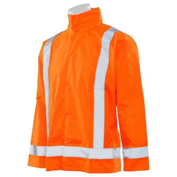 ERB Class 3 Hi Vis Orange Rain Jacket with Detachable Hood S373D-O Left Side Profile