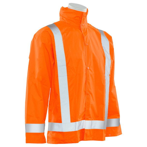 ERB Class 3 Hi Vis Orange Rain Jacket with Detachable Hood S373D-O Right Side Profile