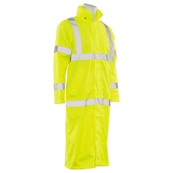 ERB Class 3 Hi Vis Lime Full Length Raincoat S163-L Right Side Profile