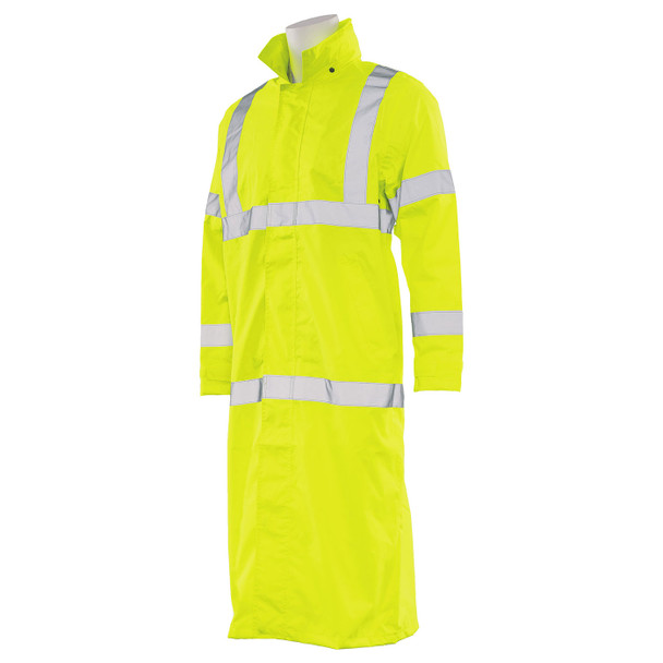 ERB Class 3 Hi Vis Lime Full Length Raincoat S163-L Left Side Profile