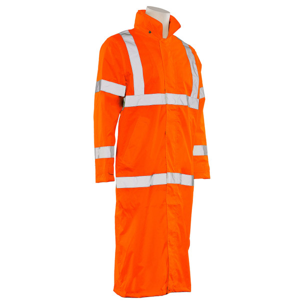 ERB Class 3 Hi Vis Orange Full Length Raincoat S163-O Right Side Profile