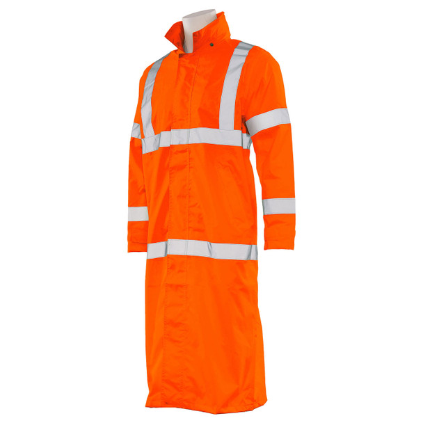 ERB Class 3 Hi Vis Orange Full Length Raincoat S163-O Left Side Profile