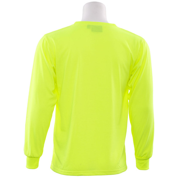 ERB Non-ANSI Hi Vis Lime Moisture Wicking Long Sleeve T-Shirt 9602-L Back