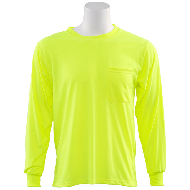 ERB Non-ANSI Hi Vis Lime Moisture Wicking Long Sleeve T-Shirt 9602-L Front