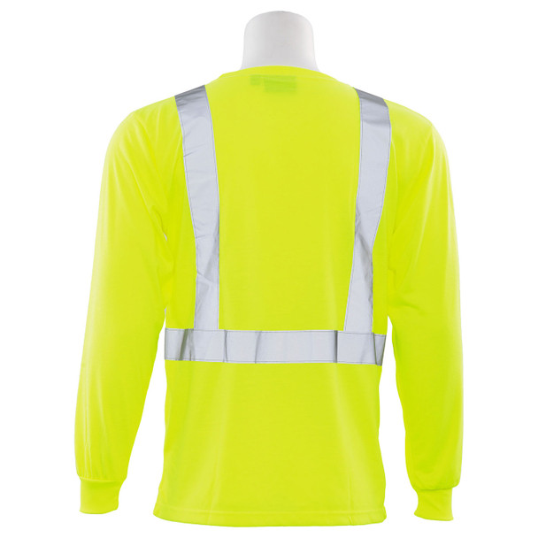 ERB Class 2 Hi Vis Lime Moisture Wicking Long Sleeve T-Shirt 9602S-L Back
