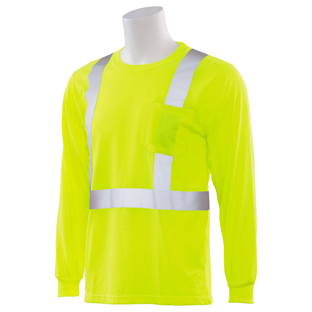 ERB Class 2 Hi Vis Lime Moisture Wicking Long Sleeve T-Shirt 9602S-L Left Side Profile