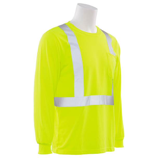 ERB Class 2 Hi Vis Lime Moisture Wicking Long Sleeve T-Shirt 9602S-L Right Side Profile