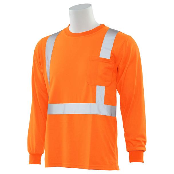 ERB Class 2 Hi Vis Orange Moisture Wicking Long Sleeve T-Shirt 9602S-O Left Side Profile