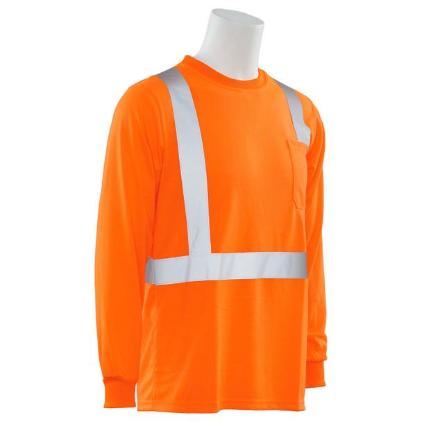 ERB Class 2 Hi Vis Orange Moisture Wicking Long Sleeve T-Shirt 9602S-O Right Side Profile