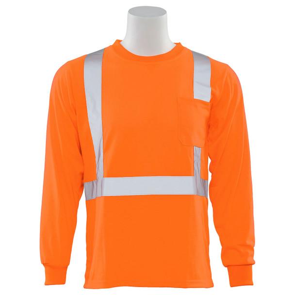 ERB Class 2 Hi Vis Orange Moisture Wicking Long Sleeve T-Shirt 9602S-O Front