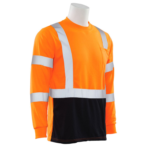 ERB Class 3 Hi Vis Orange Black Bottom Moisture Wicking Long Sleeve T-Shirt 9804S-O Right Side Profile