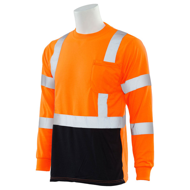 ERB Class 3 Hi Vis Orange Black Bottom Moisture Wicking Long Sleeve T-Shirt 9804S-O Left Side Profile