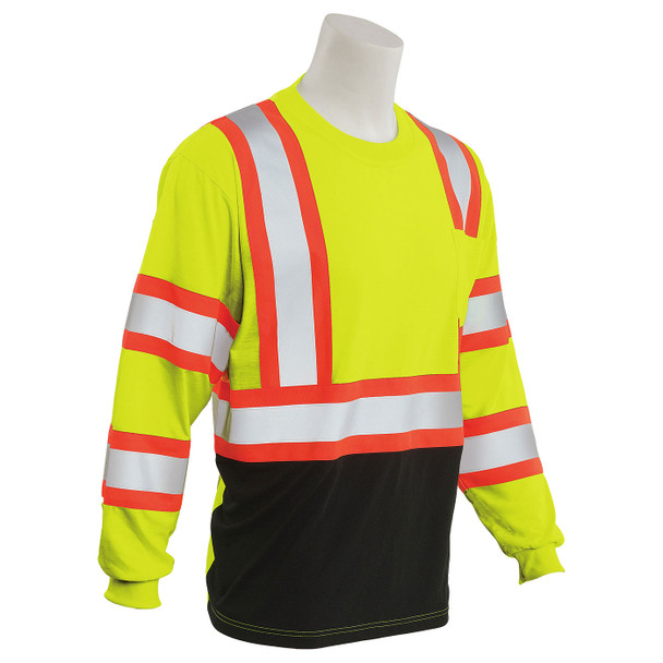 ERB Class 3 Hi Vis Lime Two-Tone Black Bottom Moisture Wicking Long Sleeve T-Shirt 9802SBC-L Right Side Profile