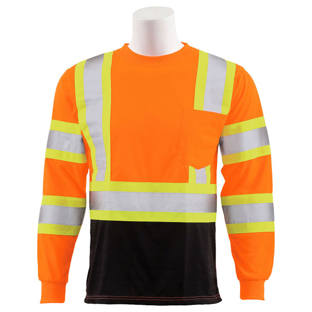ERB Class 3 Hi Vis Orange Two-Tone Black Bottom Moisture Wicking Long Sleeve T-Shirt 9802SBC-O Front