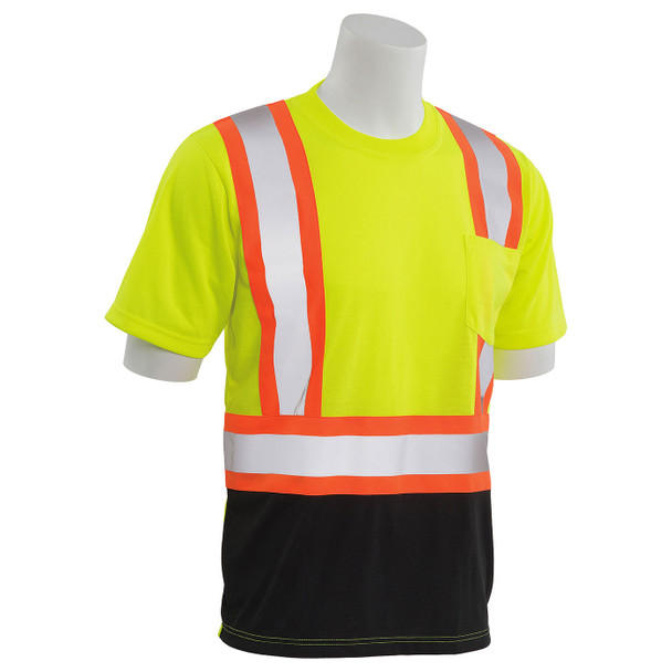 ERB Class 2 Hi Vis Lime Two-Tone Black Bottom Moisture Wicking T-Shirt 9604SBC-L Right Side Profile