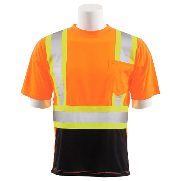 ERB Class 2 Hi Vis Orange Two-Tone Black Bottom Moisture Wicking T-Shirt 9601SBC-O Front