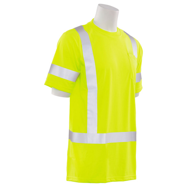 ERB Class 3 Hi Vis Lime Moisture Wicking T-Shirt 9801S-L Right Side Profile