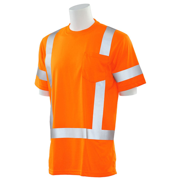 ERB Class 3 Hi Vis Orange Moisture Wicking T-Shirt 9801S-O Left Side Profile