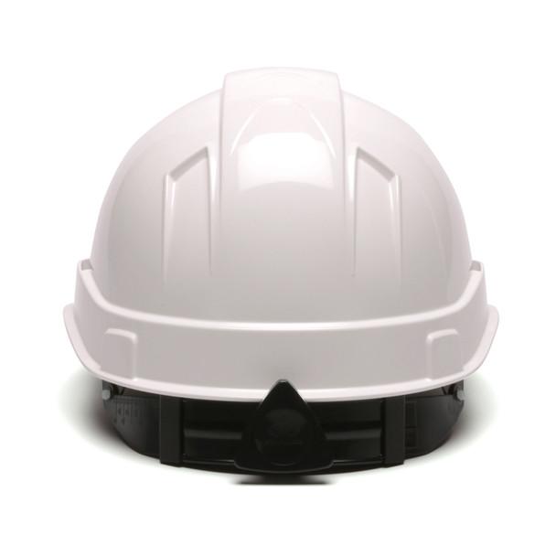 Box of 16 Pyramex Ridgeline Cap Style 4-Point Ratchet Hard Hats HP4410 White Back