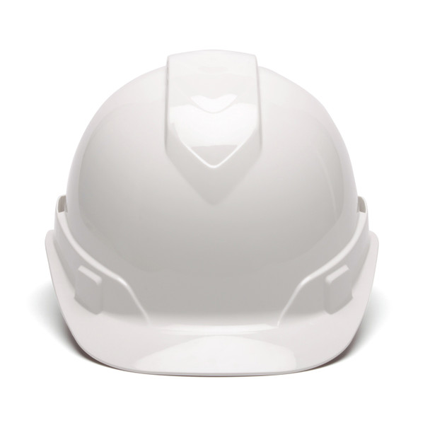Box of 16 Pyramex Ridgeline Cap Style 4-Point Ratchet Hard Hats HP4410 White Front