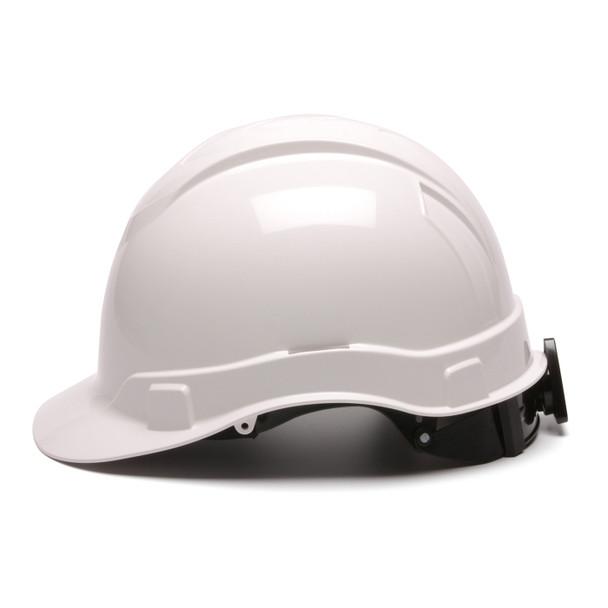 Box of 16 Pyramex Ridgeline Cap Style 4-Point Ratchet Hard Hats HP4410 White Side Profile