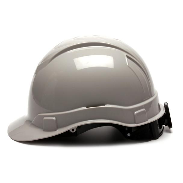 Box of 16 Pyramex Ridgeline Cap Style 4-Point Ratchet Hard Hats HP44112 Gray Side Profile