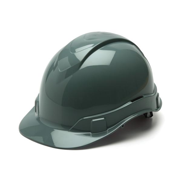 Box of 16 Pyramex Ridgeline Cap Style 4-Point Ratchet Hard Hats HP4413 Slate Gray Front Angled