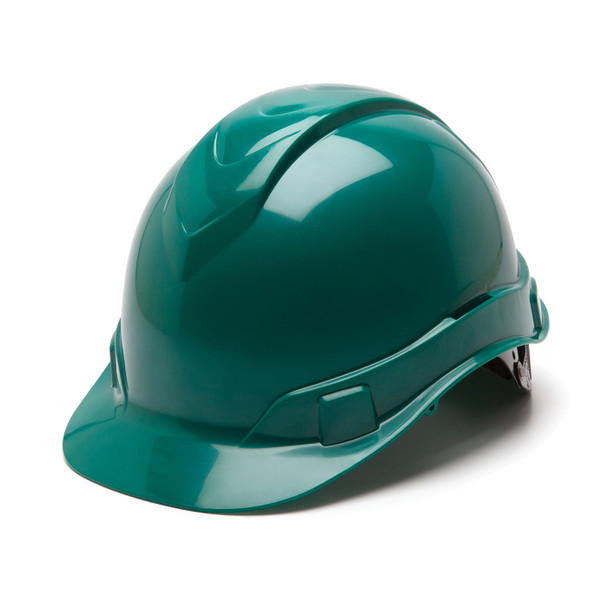 Box of 16 Pyramex Ridgeline Cap Style 4-Point Ratchet Hard Hats HP44135 Green Front Angled