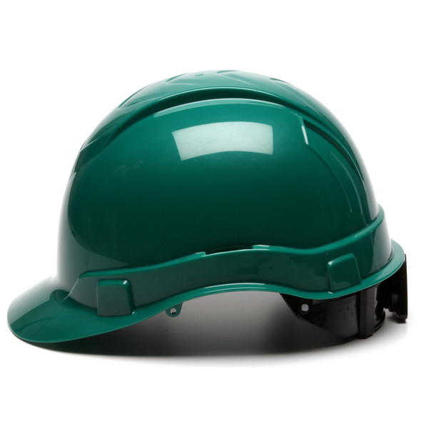 Box of 16 Pyramex Ridgeline Cap Style 4-Point Ratchet Hard Hats HP44135 Green Side Profile