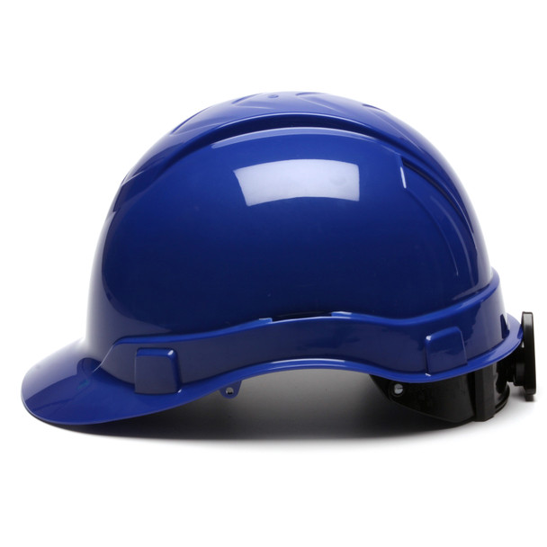 Box of 16 Pyramex Ridgeline Cap Style 4-Point Ratchet Hard Hats HP44160 Blue Side Profile