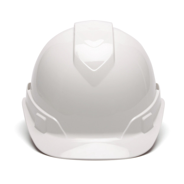 Box of 16 Pyramex Ridgeline Cap Style Vented 4-Point Ratchet Hard Hats HP44110V White Front