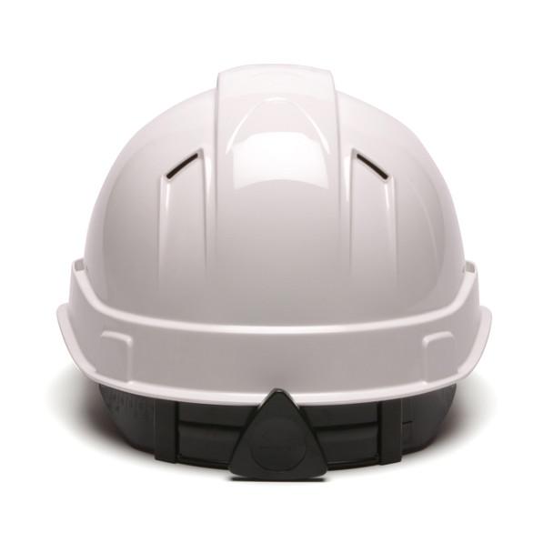 Box of 16 Pyramex Ridgeline Cap Style Vented 4-Point Ratchet Hard Hats HP44110V White