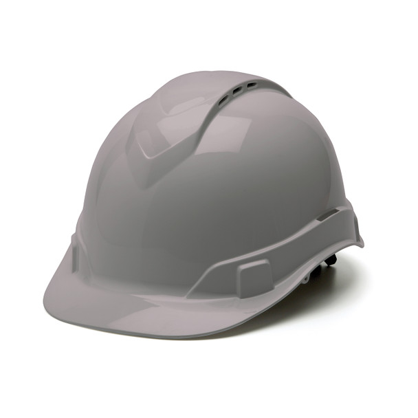 Box of 16 Pyramex Ridgeline Cap Style Vented 4-Point Ratchet Hard Hats HP44112V Gray Front Angled