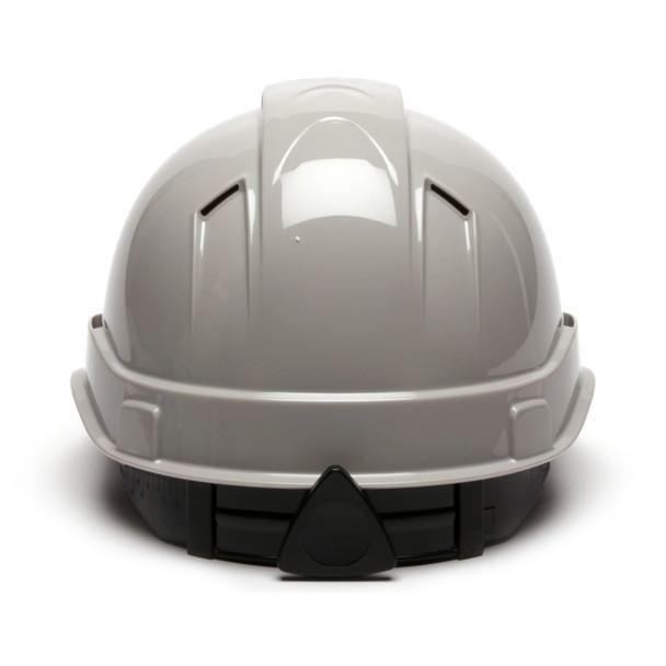 Box of 16 Pyramex Ridgeline Cap Style Vented 4-Point Ratchet Hard Hats HP44112V Gray Back