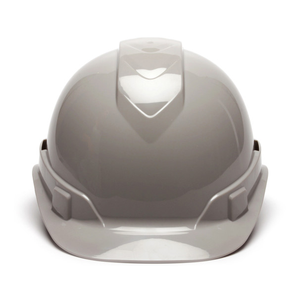 Box of 16 Pyramex Ridgeline Cap Style Vented 4-Point Ratchet Hard Hats HP44112V Gray Front