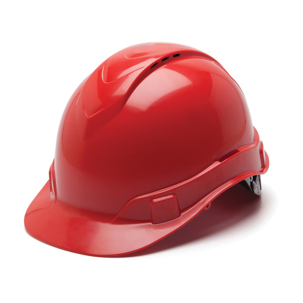 Box of 16 Pyramex Ridgeline Cap Style Vented 4-Point Ratchet Hard Hats HP44120V Red Front Angled
