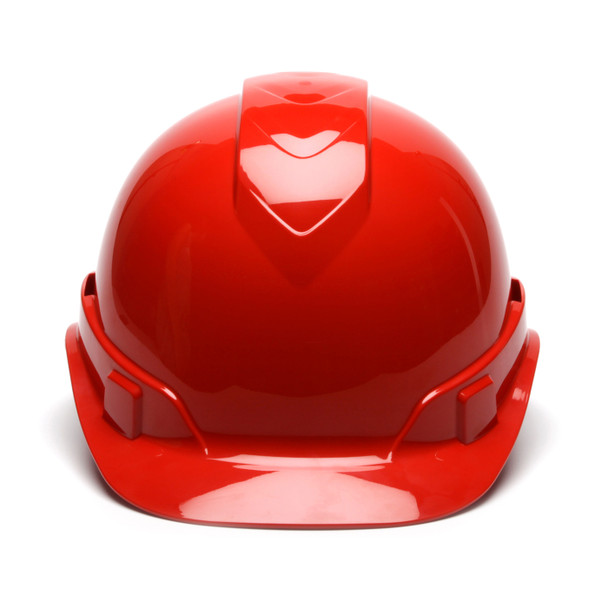 Box of 16 Pyramex Ridgeline Cap Style Vented 4-Point Ratchet Hard Hats HP44120V Red Front