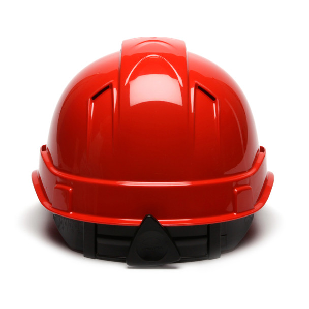 Box of 16 Pyramex Ridgeline Cap Style Vented 4-Point Ratchet Hard Hats HP44120V Red Back