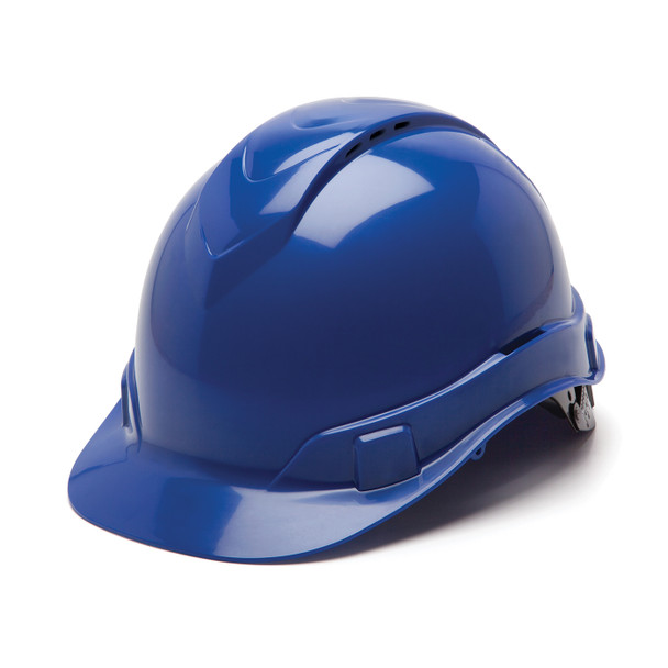 Box of 16 Pyramex Ridgeline Cap Style Vented 4-Point Ratchet Hard Hats HP44160V Blue Front Angled