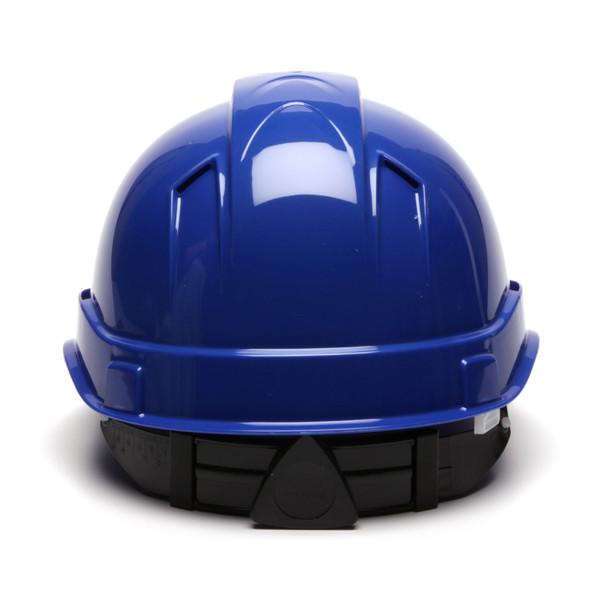 Box of 16 Pyramex Ridgeline Cap Style Vented 4-Point Ratchet Hard Hats HP44160V Blue Back