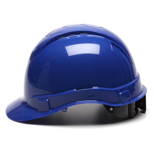 Box of 16 Pyramex Ridgeline Cap Style Vented 4-Point Ratchet Hard Hats HP44160V Blue Side Profile
