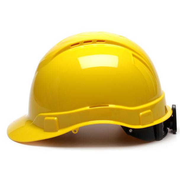 Box of 16 Pyramex Hi Vis Ridgeline Cap Style Vented 4-Point Ratchet Hard Hats HP44130V Yellow Side Profile