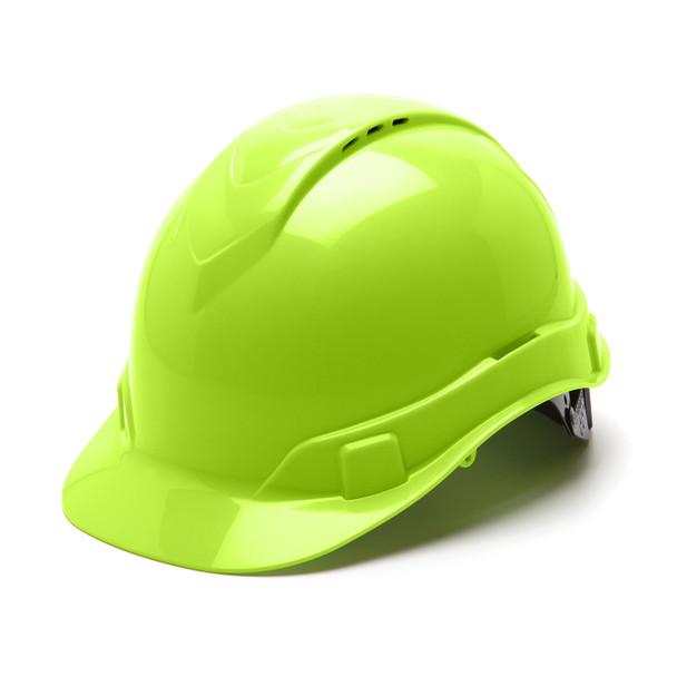 Box of 16 Pyramex Hi Vis Ridgeline Cap Style Vented 4-Point Ratchet Hard Hats HP44131V Hi Vis Lime Front Angled